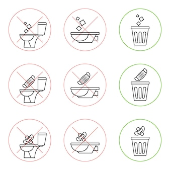 Do not litter in the toilet. toilet no trash. keeping the clean. please do not flush paper towels, sanitary products, medical masks. prohibition icons. no littering, warning symbol. forbidden icon