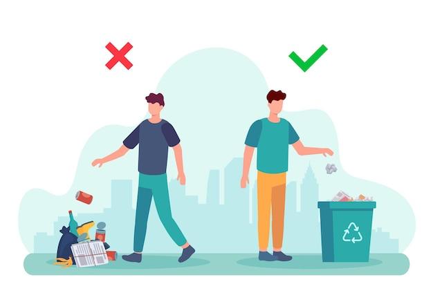 ポイ捨て行動。ごみ捨ての正誤例のインフォグラフィック。コンテナにゴミを処分する男のイラスト。ごみのリサイクル、ゴミのリサイクル環境