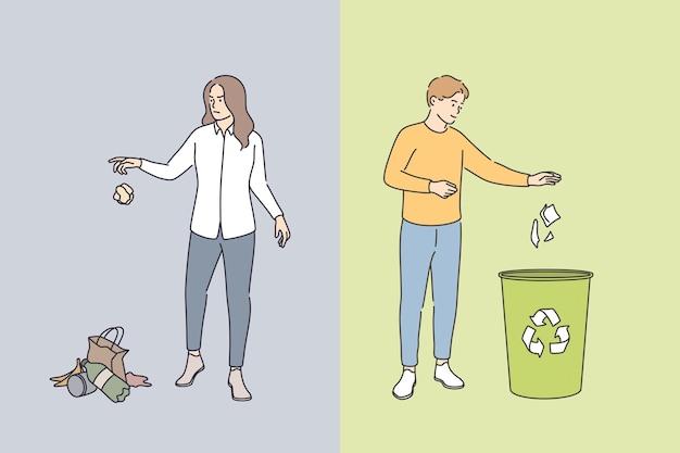 쓰레기 버리는 행동과 지속 가능한 생활 방식 개념