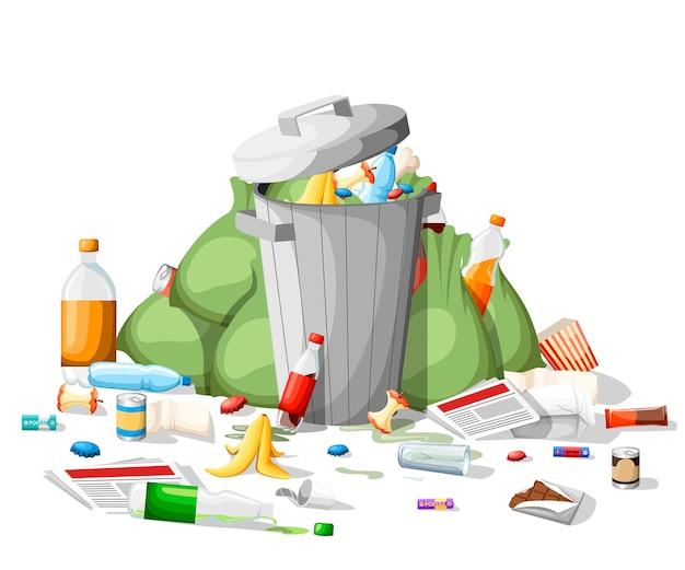 ゴミのポイ捨て。スタイルのゴミの山。鋼のゴミ箱がゴミでいっぱい。グリーンバッグ、食品、紙、プラスチック。白い背景の上の図