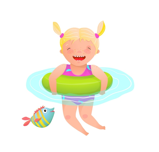 Little adorable girl kid swimming with inflatable ring and laughing happy and cheerful. Premium Vector