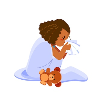 Little african american girl has flu, child sneezes into a handkerchief. sick child girl sitting in bed with toy bear and blowing her nose, feel so bad with fever. cartoon illustration
