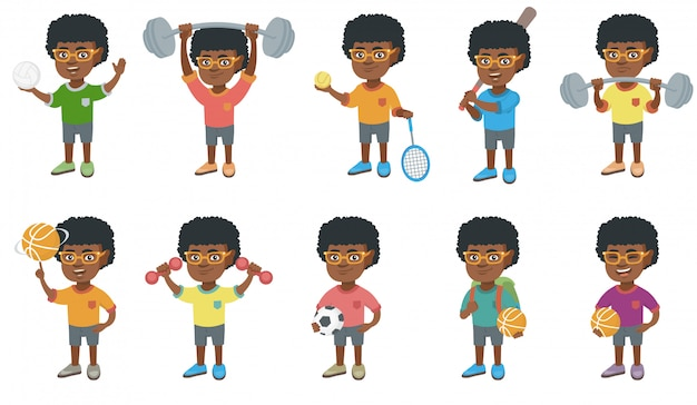 Little african boy character set
