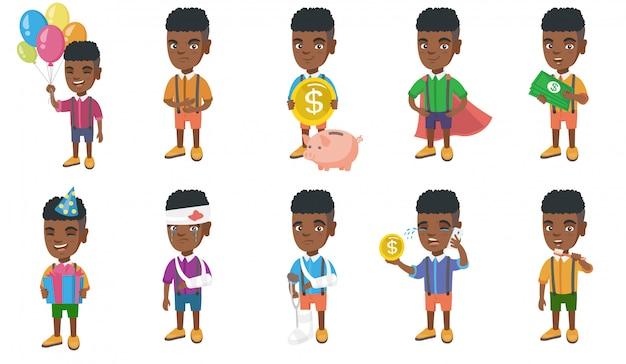 Little african boy character set