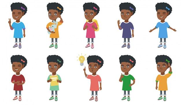 Little african girl character set
