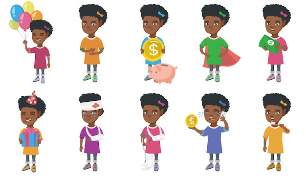 Little african girl character set