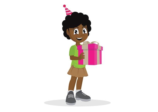 선물 상자를 들고 작은 아프리카 소녀.