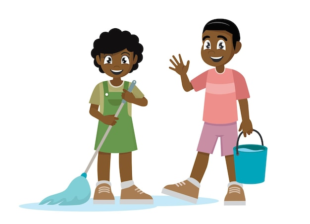 Little african kid boy and girl do chores cleaning floor
