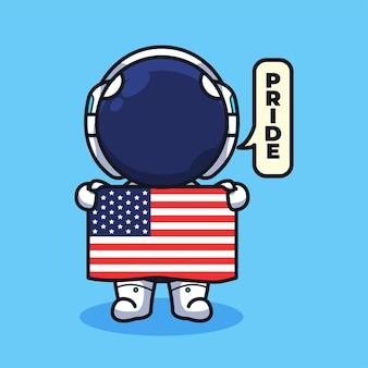 旗を保持し、かわいい線画イラストスタイルに誇りを言っている小さなアメリカの宇宙飛行士