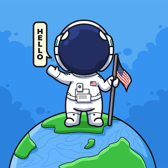Little american astronaut holding flag and saying hello in cute line art illustration style