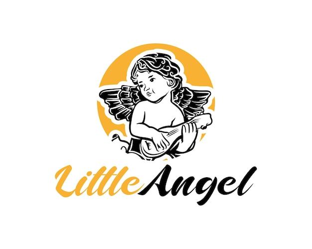 小さな天使のロゴ天使またはキューピッドの赤ちゃんのロゴデザインのインスピレーション
