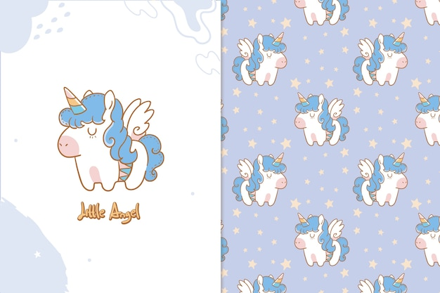 Little angel unicorn seamless pattern