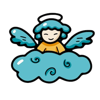 Little angel with wings and a halo on a cloud in doodle style
