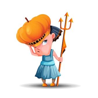 Маленькая сердитая девочка с тыквенной шляпой и трезубцем в руке. милая девушка, одетая на праздник хэллоуина.