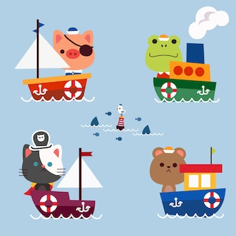 Little animals goes to sail adventure ocean journey concept character  illustration asset collection