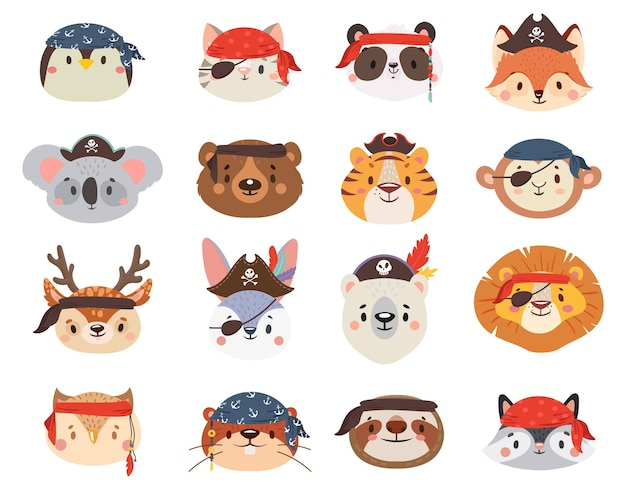 Little animals in pirate hats as penguin and cat, lion and tiger, sloth, giraffe, raccoon and deer