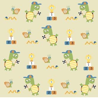Little animals sport on vector cartoon pattern