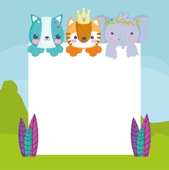 Little animals with blank board