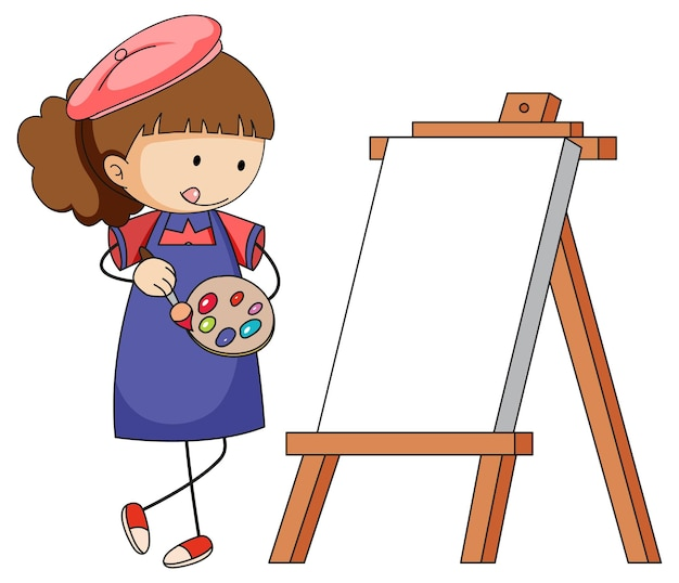 Little artist cartoon character with blank board isolated