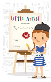 Little artist cartoon standing in front of wooden easel
