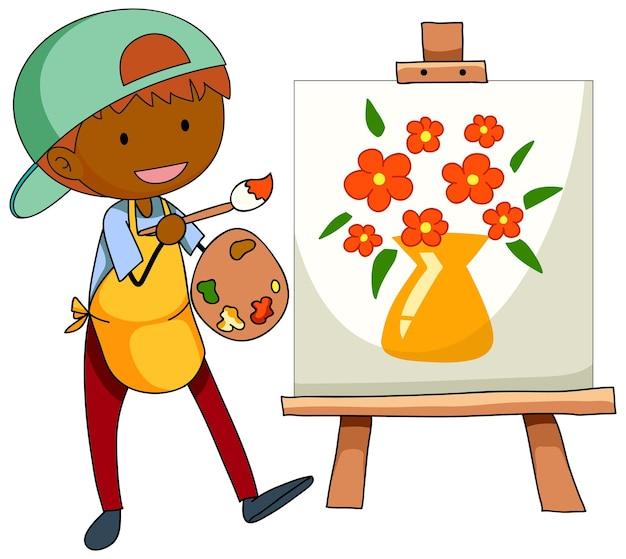 孤立した絵の漫画のキャラクターを描く小さなアーティスト