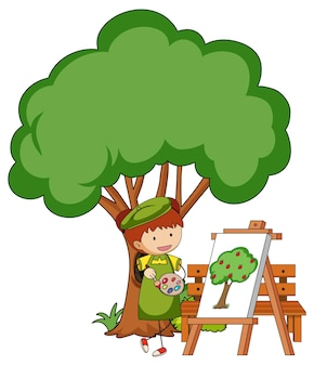 Little artist drawing a tree picture isolated on white background