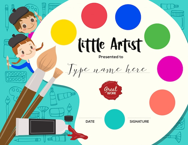 Little artist kids diploma painting course certificate