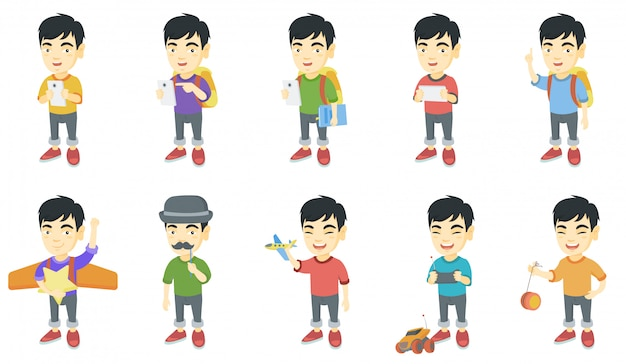 Little asian boy character set