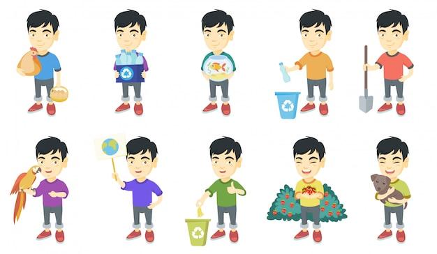 Little asian boy character set