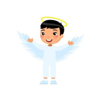 Little asian boy dressed like angel child wearing cherub costume halloween party