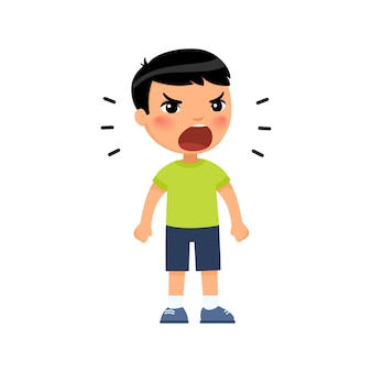 아시아 소년이 큰 소리로 비명을 지르며 손을 주먹으로 움켜 쥡니다.