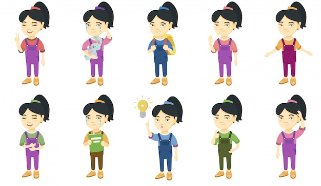 Little asian girl character set