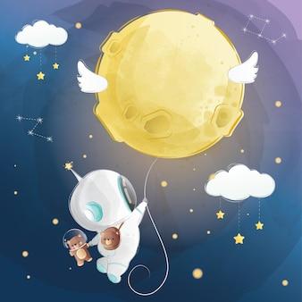 月の風船で飛んでいる小さな宇宙飛行士の少年