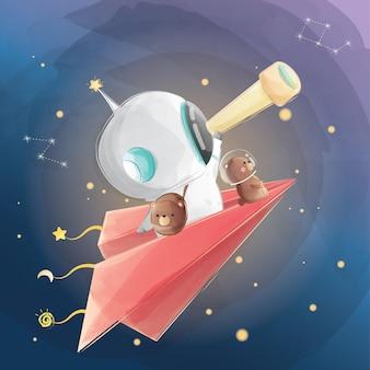 望遠鏡を使っている小さな宇宙飛行士の少年