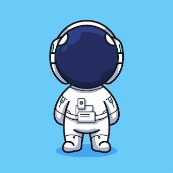 Little astronaut in cute line art illustration style