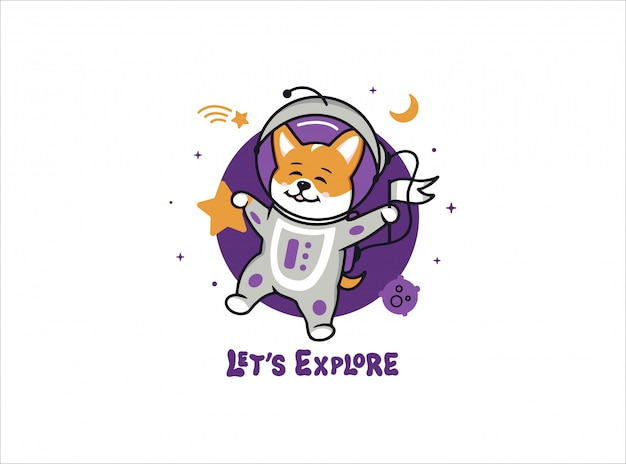 A little astronaut dog corgi, space logo with text.
