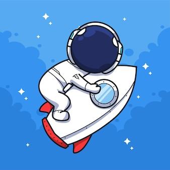 Little astronaut hugging a rocket in the sky in cute line art illustration style