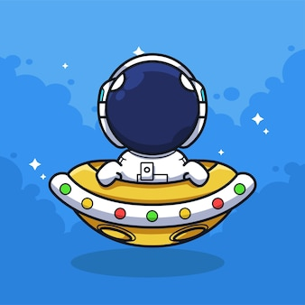 Little astronaut riding the ufo on the sky in cute line art illustration style