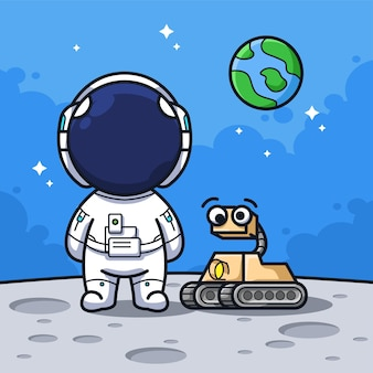 Little astronaut with mini space explorer robot in the moon in cute line art illustration style