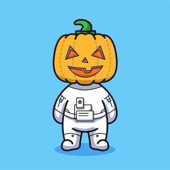 Little astronaut with pumpkin head for halloween in cute line art illustration style