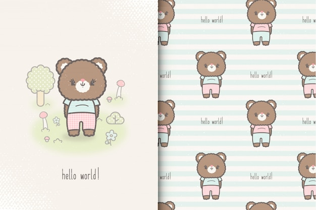 Little baby bear card and seamless pattern. kids illustration with cute background