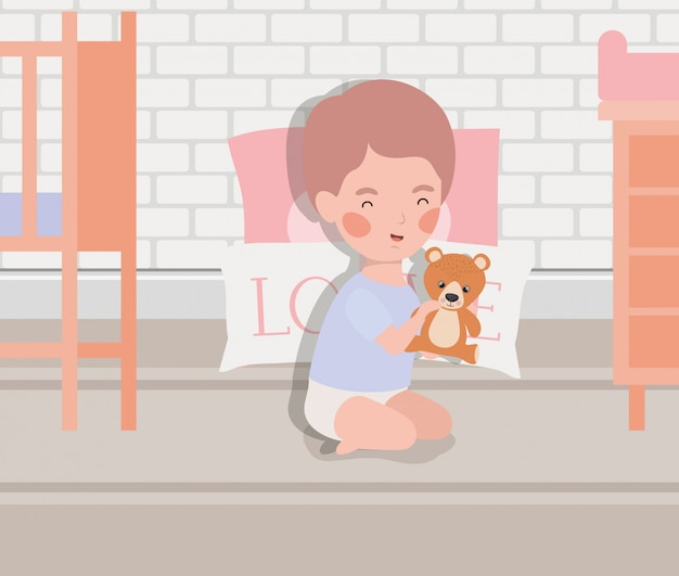 Little baby boy with bear teddy