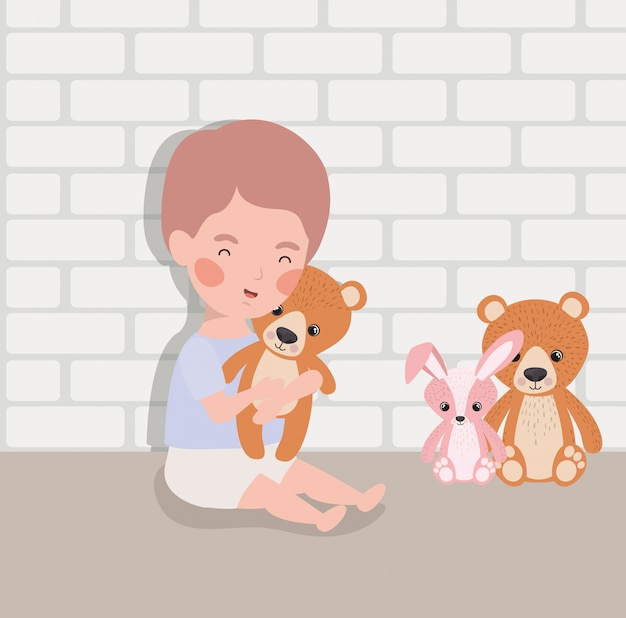 Little baby boy with stuffed toys character