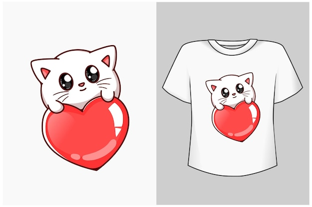 愛の漫画イラストと小さな赤ちゃん猫 Premiumベクター