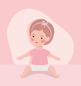 Little baby girl cute character
