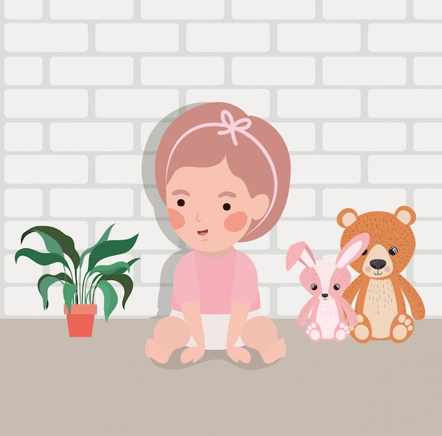 Little baby girl with stuffed toys character