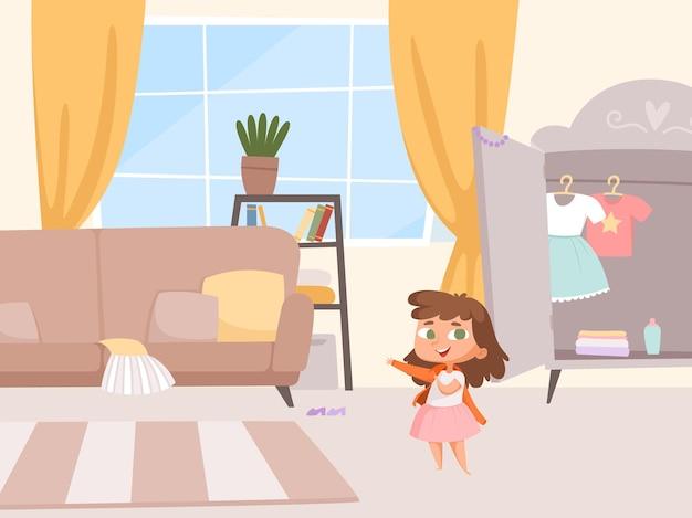 옷장과 소파가있는 방 내부에 작은 아기.