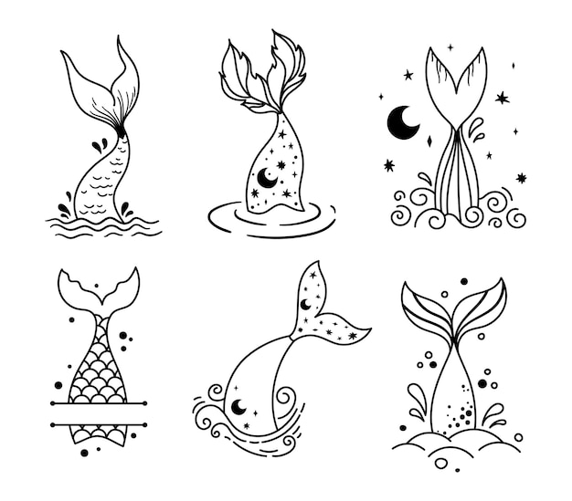 작은 아기 인어 꼬리 고립 된 클립 아트 바다 수중 생활 마법의 물고기 꼬리와 모노그램 프레임