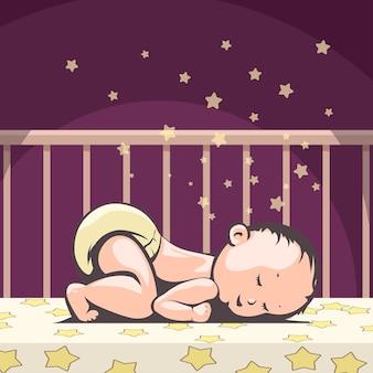 夜ベッドで寝ている小さな赤ちゃん