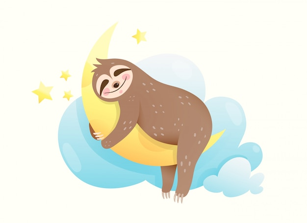 Little baby sloth sleeping eyes closed, happy smiling in the dream. sweet animal cub hugging moon dreaming of stars and moon.